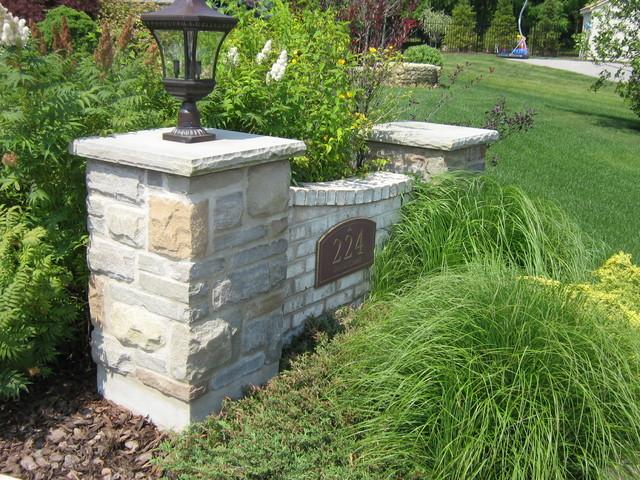Outdoor Stone Pillars : Stone address pillars wall traditional landscape