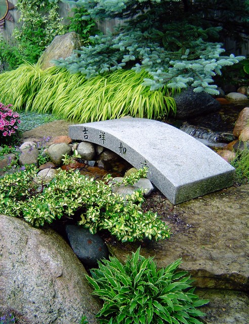 Inspiration for a mid-sized asian backyard stone water fountain landscape in Detroit.