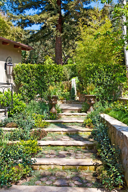 Inspiration for an asian hillside stone landscaping in Los Angeles.