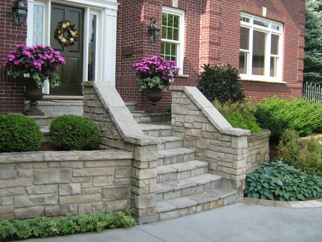 Stone entrance steps traditional landscape toronto for Landscaping front steps