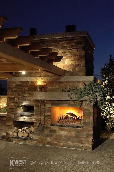 Stone Fireplace / Pizza Oven & Night Lighting modern-landscape