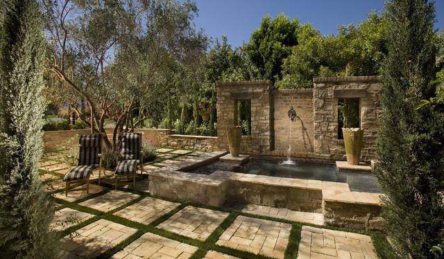 Stone Fountain And Jacuzzi Mediterranean Landscape