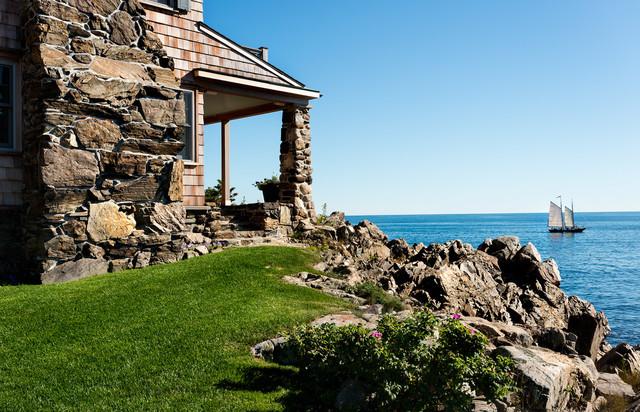 Stone House Beach Style Landscape Portland Maine