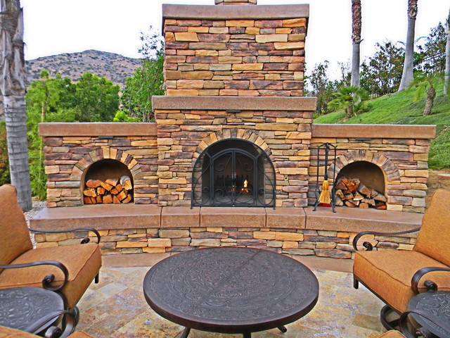 stone outdoor fireplace design ideas traditional landscape - Outdoor Fireplace Design Ideas