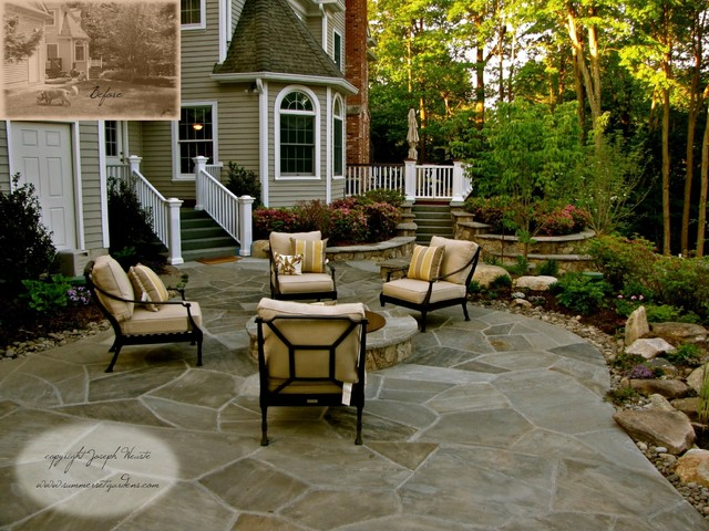 Stone Patio Fire Pit Traditional Landscape