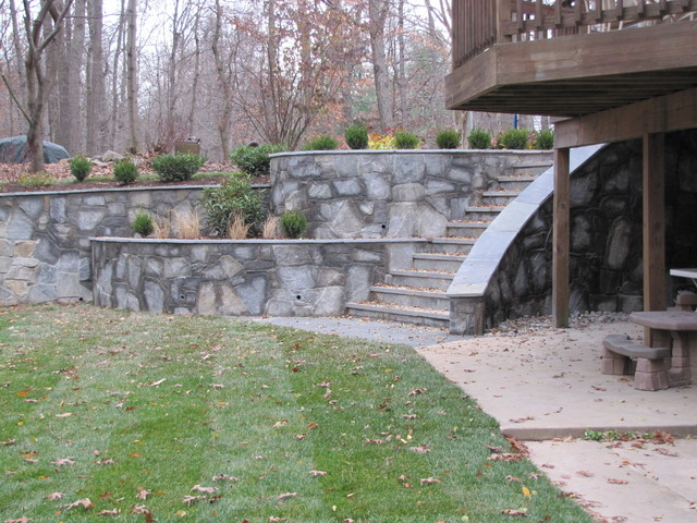 Stone Retaining Wall Steps Traditional Landscape