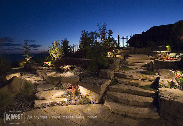 Stone Walkway & Night Lighting traditional-landscape