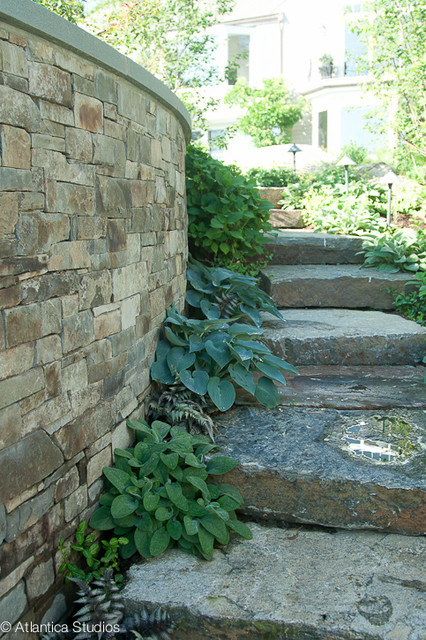 Stone Wall & Stairs contemporary-landscape