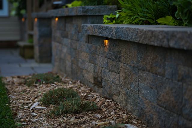 Stone Wall Lighting Contemporary Landscape