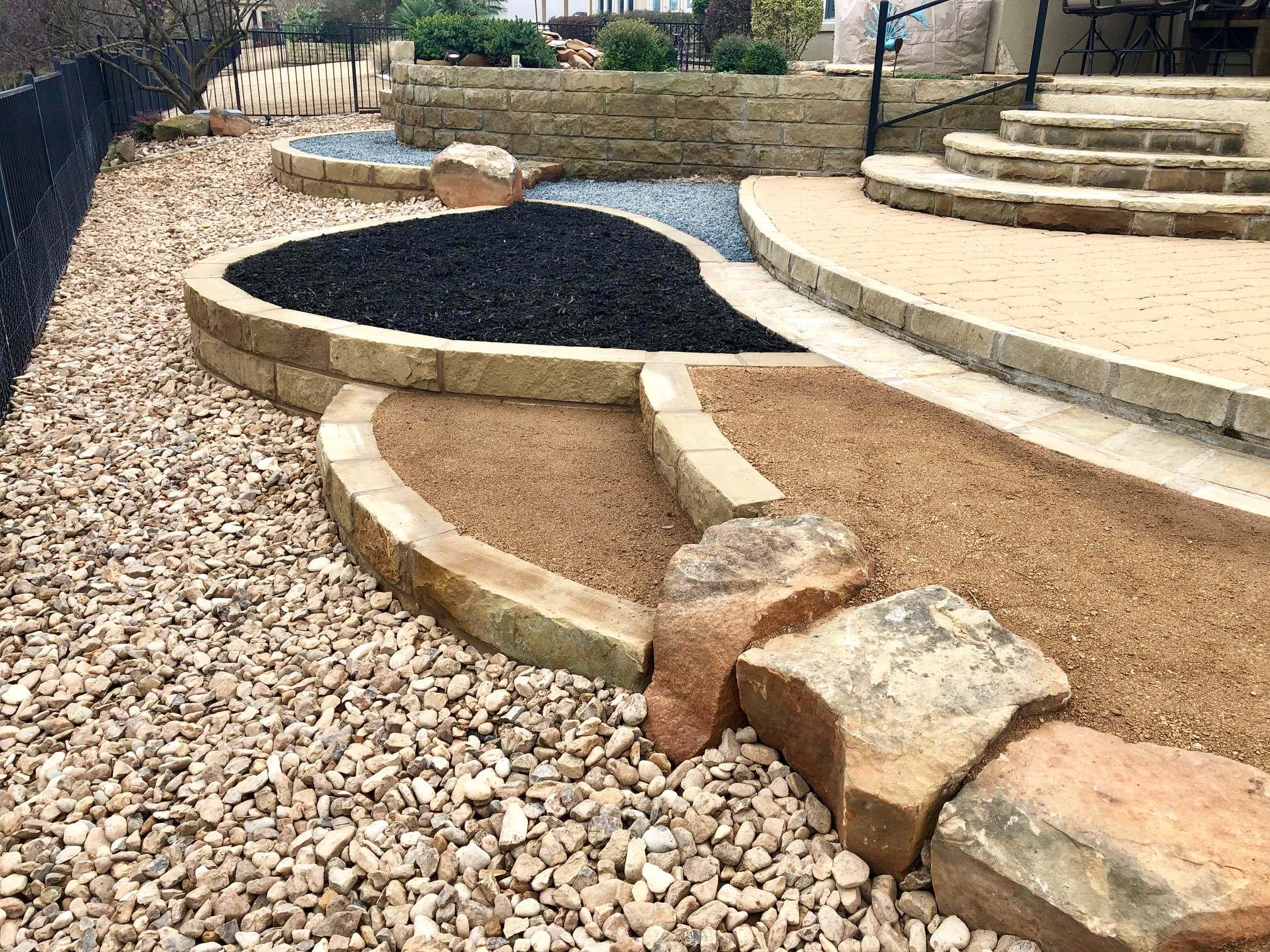 Stone walls & Pathways (Basalt & Decomposed Granite)