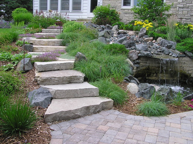 Stone Walls Steps Patios Fireplaces Traditional Landscape