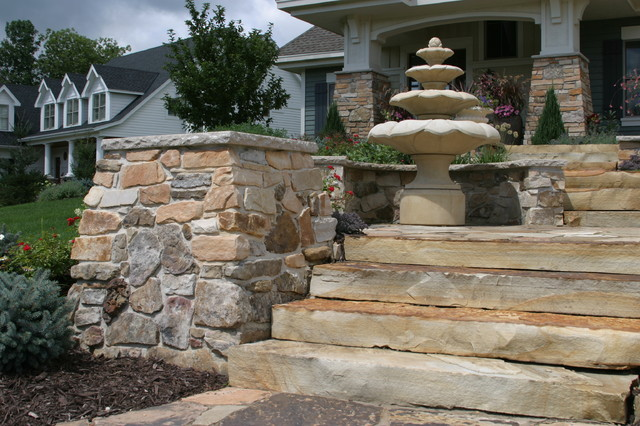 Stone walls, steps, patios, fireplaces traditional-landscape