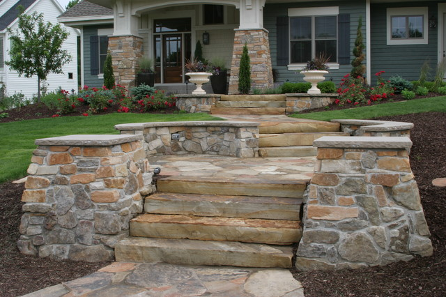 Stone walls, steps, patios, fireplaces - Traditional - Landscape ...