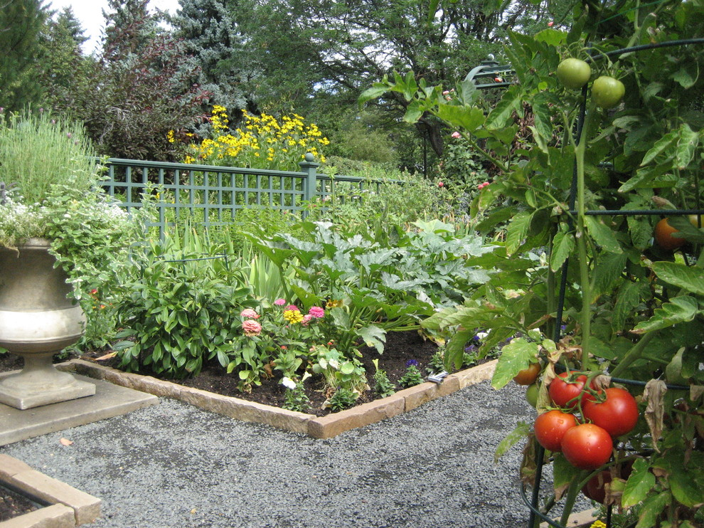 This is an example of a traditional backyard vegetable garden landscape in Denver.