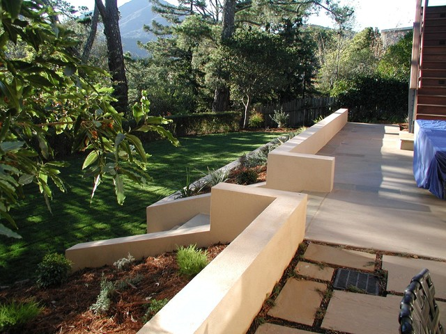 Stucco Seat Wall And Colored Concrete Patio Traditional