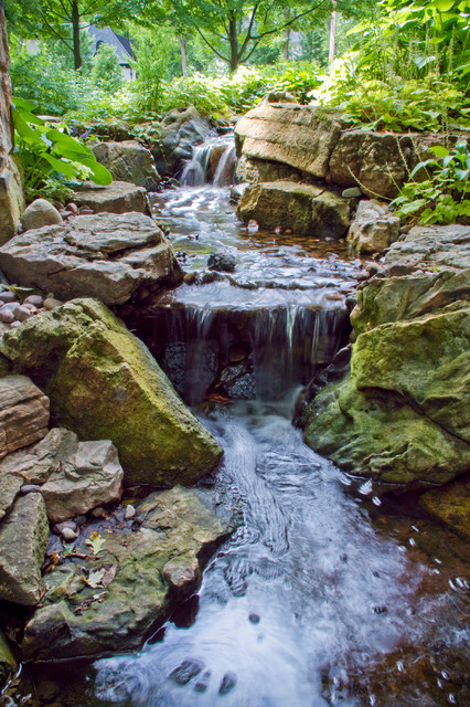 Suburban Woodsy Waterfall And Stream Eclectic