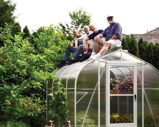 Sungarden Greenhouse - Our beginner greenhouse - a 8x8 curved twinwall polycarbonate.  Built to withstand 30 pounds per square foot of snow and over 90 mph winds.  Strongest greenhouse on the market today.