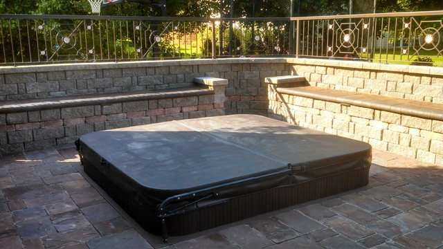 Sunken Hot Tub Paver Patio And Ornamental Fence Contemporary
