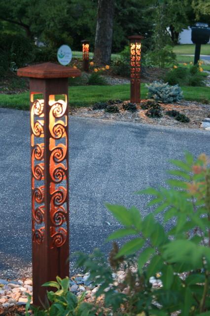 Swirls 4x4 bollards by driveway eclectic landscape for Driveway landscape lighting