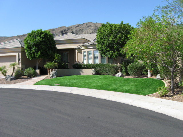 Synthetic turf lawn traditional-landscape