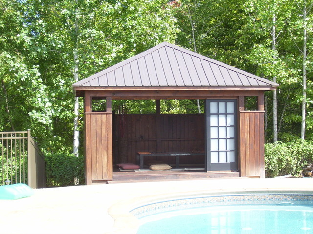 Tea house pool cabana asian landscape raleigh by for Outdoor cabana designs