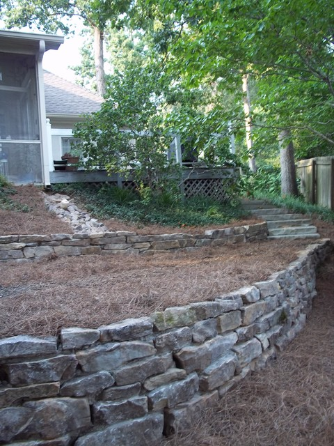 Fieldstone Walls Landscaping : Tennessee fieldstone stack wall traditional landscape