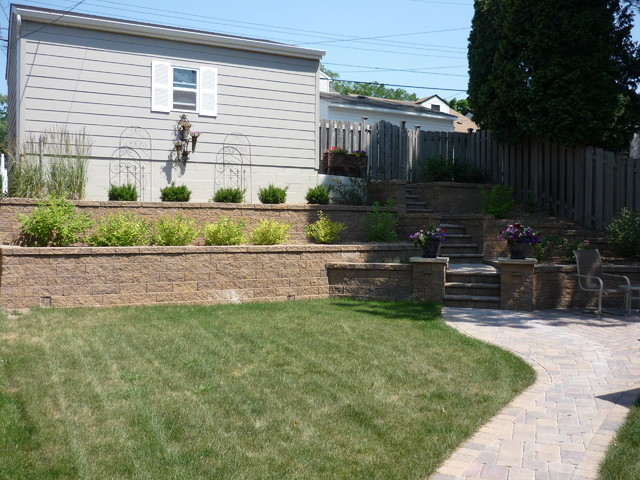 Terraced Backyard Steps : Terraced Backyard with Stairs and Paver Patio traditional landscape