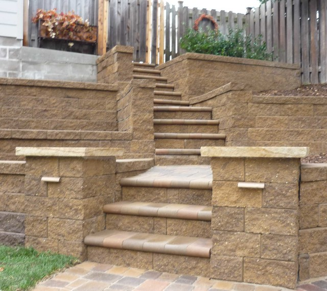 Terraced Backyard Steps : Terraced Backyard with Stairs and Paver Patio traditionallandscape