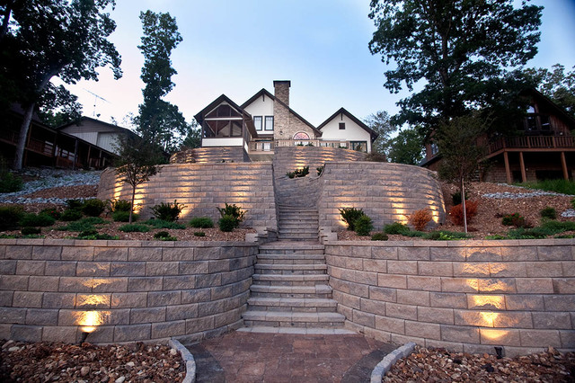 Terraced Retaining Wall With Stairs And Accent Lighting