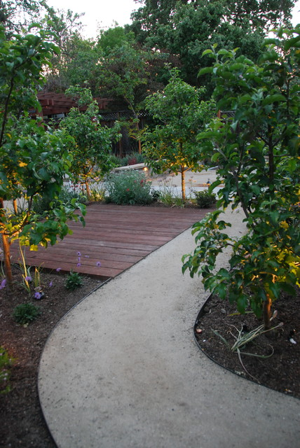 The decomposed granite access path winds between apple for Verdance landscape design