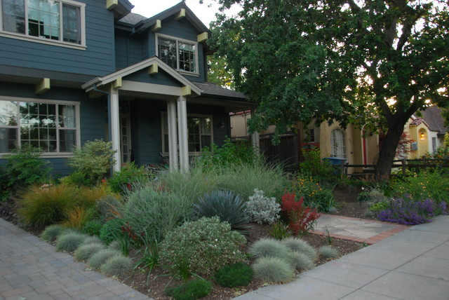 The front yard was sculpted into berms and swales for for Craftsman landscape design ideas