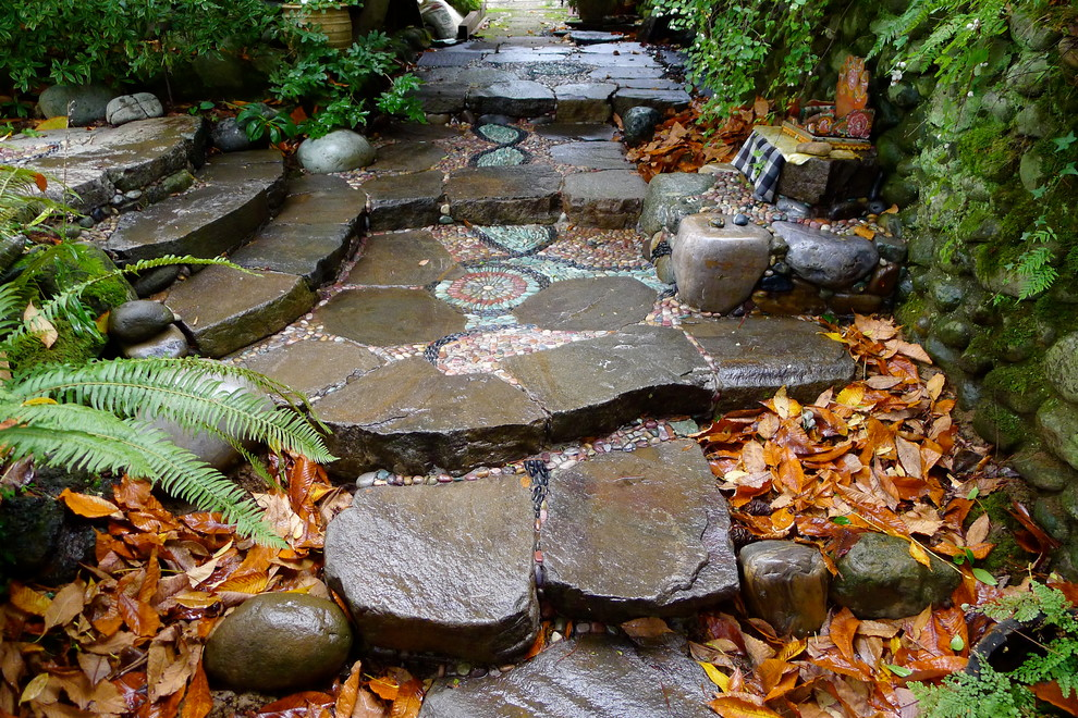 Inspiration for an eclectic shade backyard landscaping in Portland.