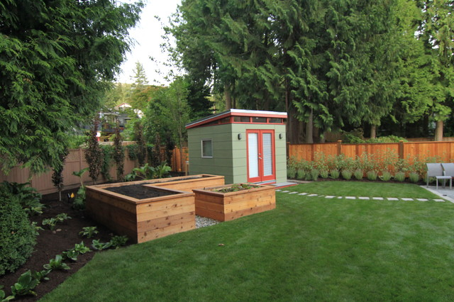 Build Garage In Backyard : The Great Canadian Landscaping Company contemporarygarageandshed
