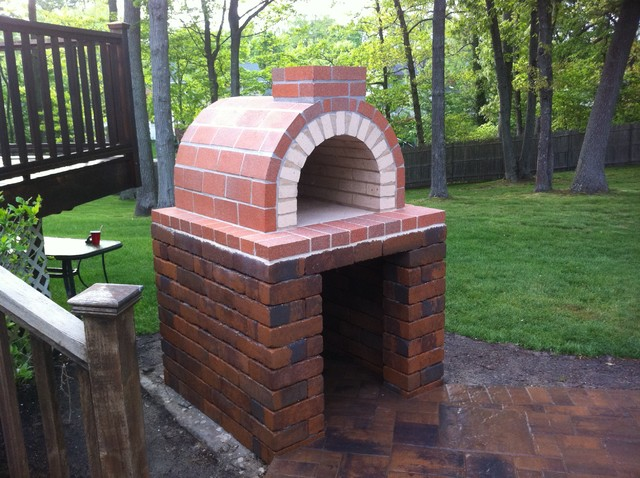 The Natalie Family Wood Fired Pizza Oven with Hardscape Block Base in New York - Traditional ...