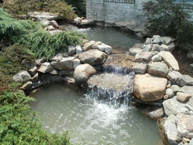 2 tier pond traditional landscape dc metro by for Tiered pond waterfall