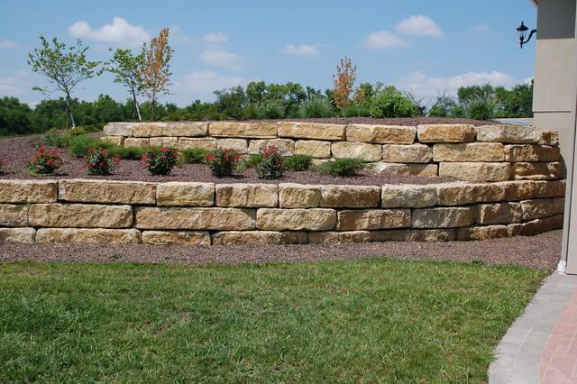 Tiered 14 ledgerock limestone retaining walls for Limestone landscape rock
