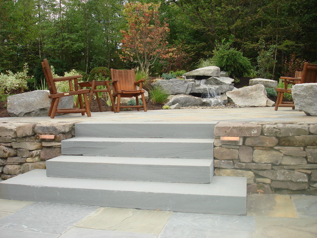 Tiered Patio And Water Feature Contemporary Garden