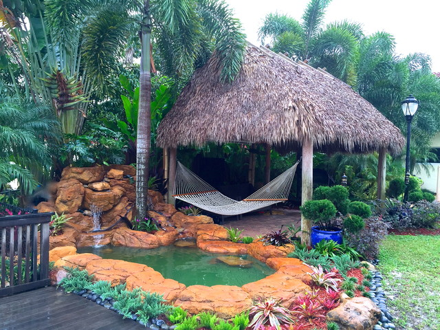 Tiki Hut And Waterfall Tropical Landscape Miami By