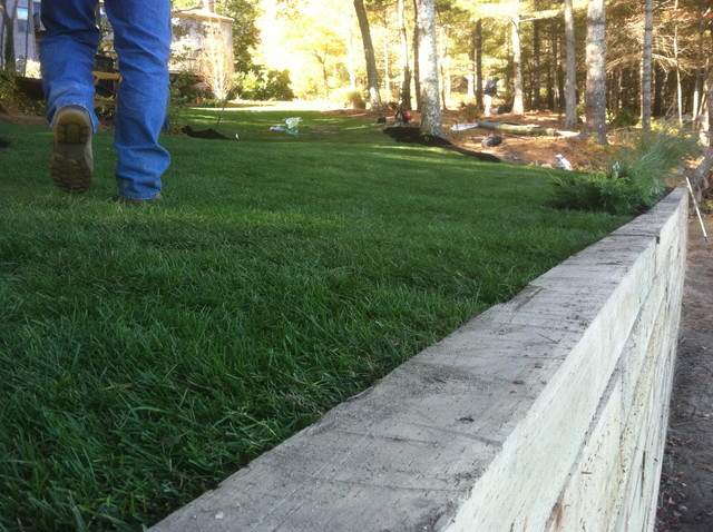 Timber Retaining Wall, Stairs, & New Sod traditional-landscape