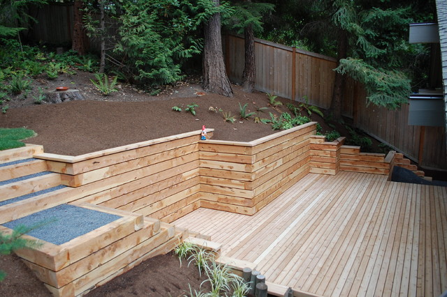 Timber Walls And Steps Contemporary Landscape