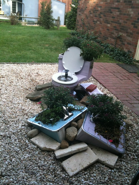 Patio ideas on a budget - Toilet Fountain Eclectic Landscape Other Metro
