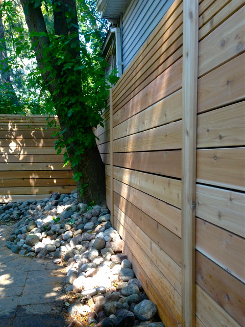 Inspiration for a modern landscaping in Toronto with decking.