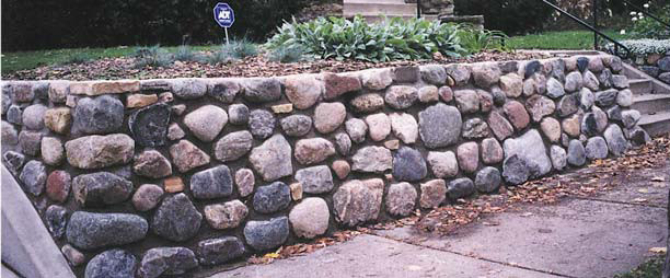 English Stone Landscape Contractors. Traditional Cobble Boulder Retainer  Wall In Mortar Traditional Landscape