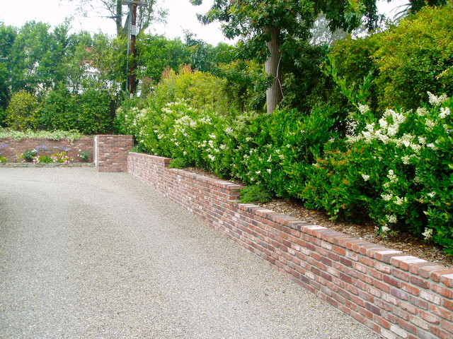 Traditional Cottage Garden Rancho Santa Fe Landscape Brick