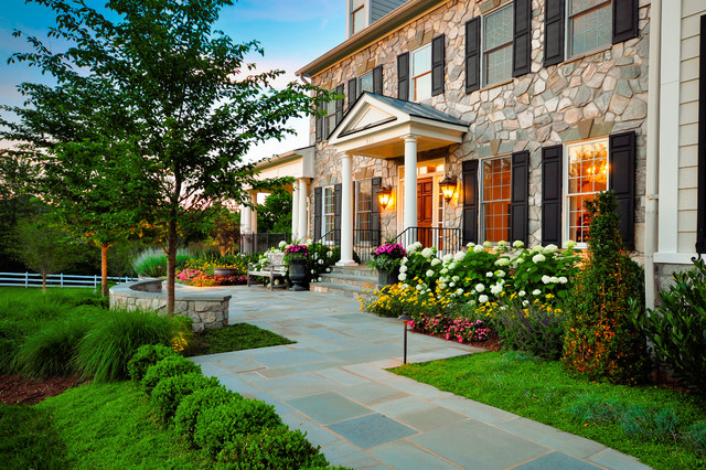 Beau Inspiration For A Huge Traditional Partial Sun Front Yard Concrete Paver  Formal Garden In DC Metro