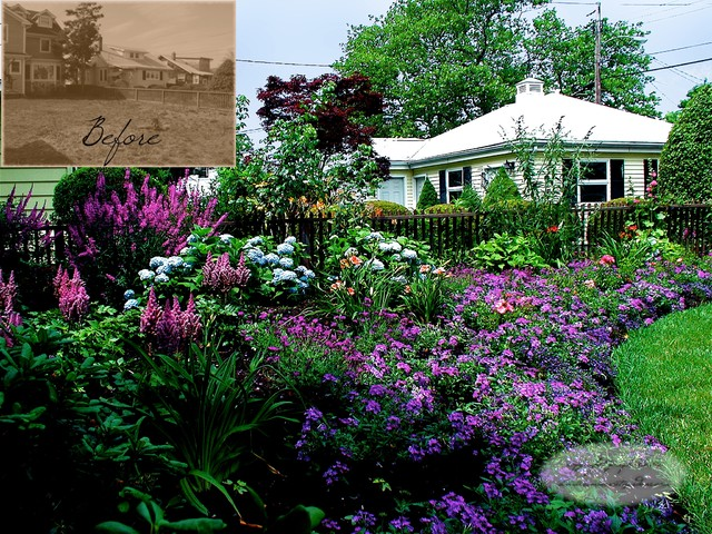 Front yard cottage garden traditional landscape for Cottage garden designs photos