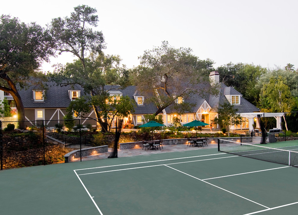 Photo of a large traditional backyard outdoor sport court in San Francisco.