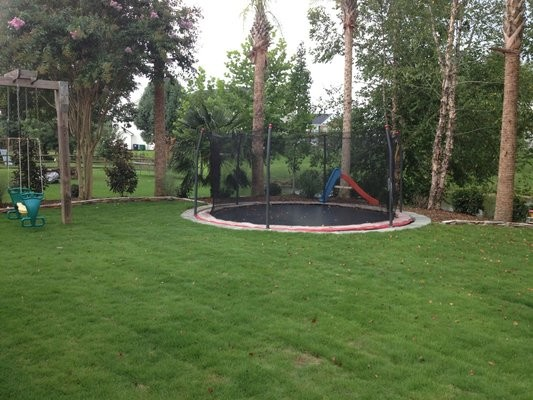 Trampoline Back Yard - Modern - Landscape - Other Metro - By SecureTurf - Charlotte Landscaping ...
