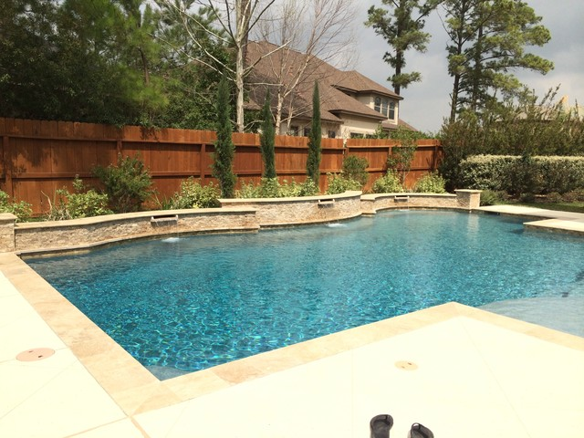 Travertine Pool With Raised Beam Wall Amp Scuppers