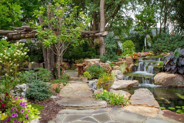 Tree and waterfall inspired backyard traditional for Landscape design chicago